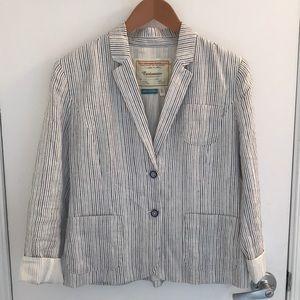 Anthropologie blue and white striped linen blazer